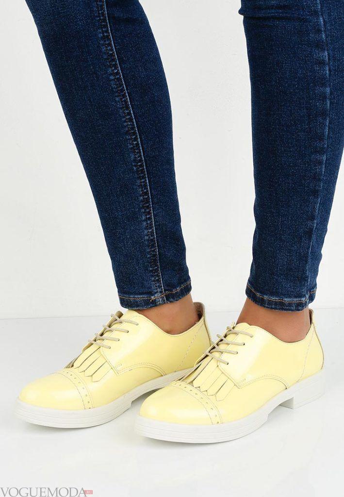 женские туфли на низком каблуке желтые