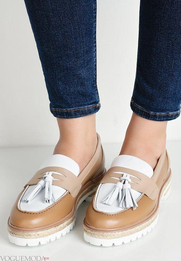 женские мокасины на низком каблуке с декором