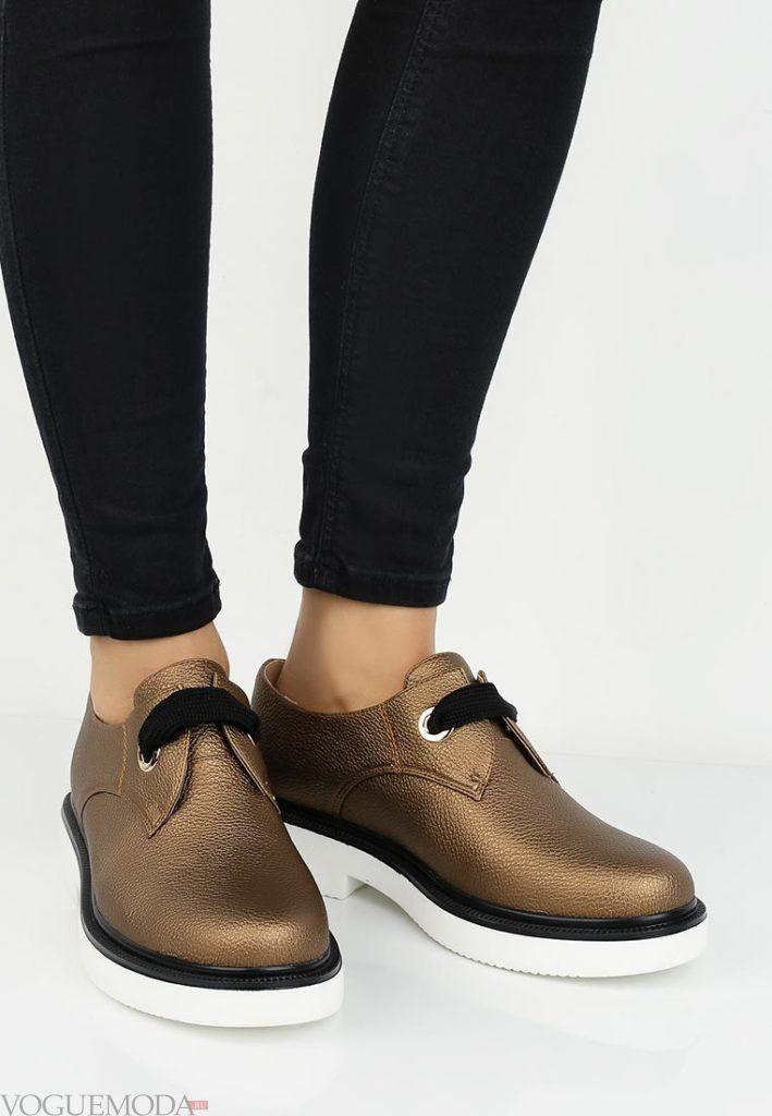 женские туфли на низком каблуке золотые