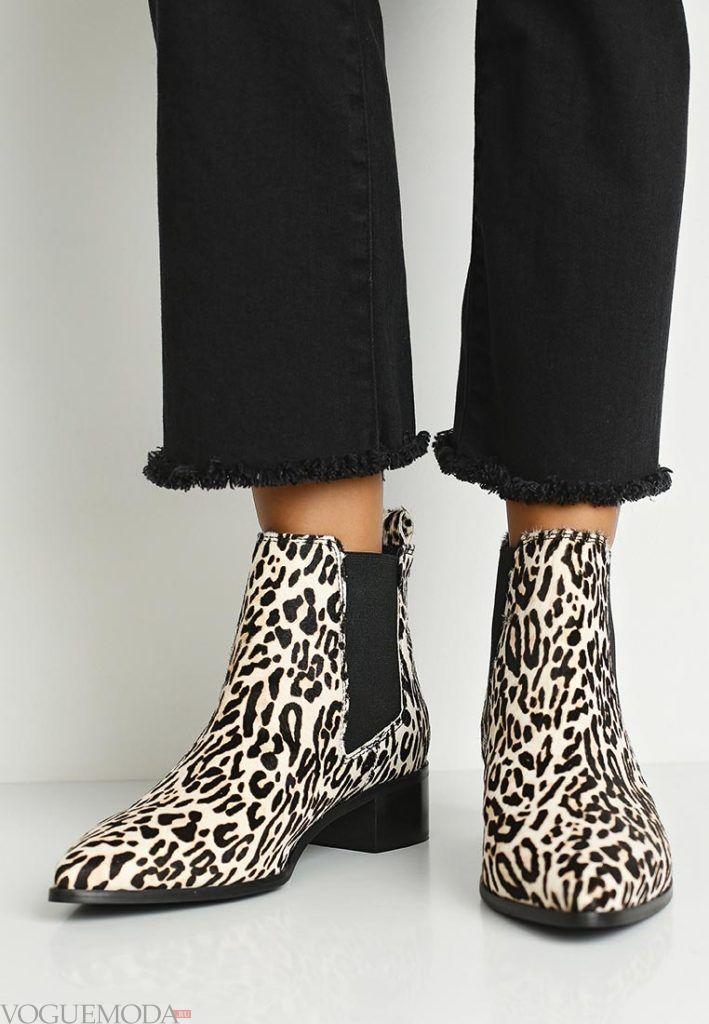 женские модные ботинки с анималистичным принтом