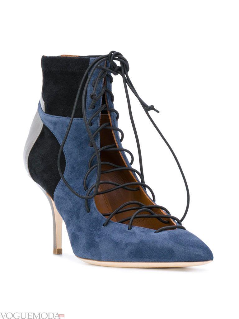 женские синие ботильоны на шнуровке