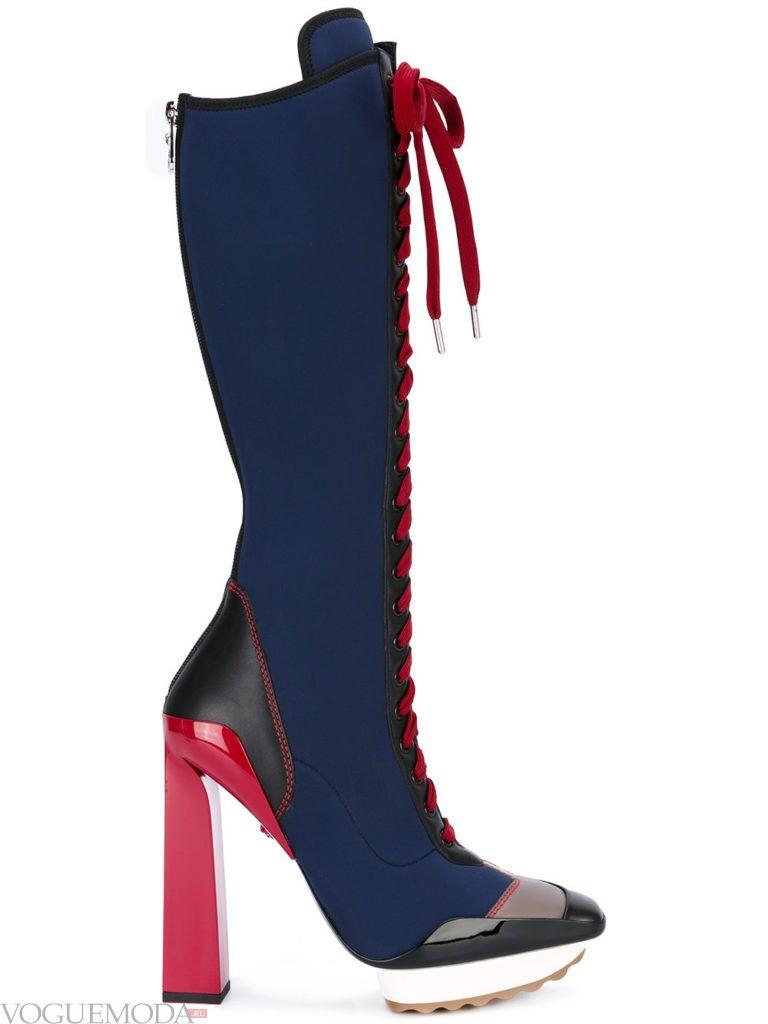 женские цветные сапоги на шнуровке