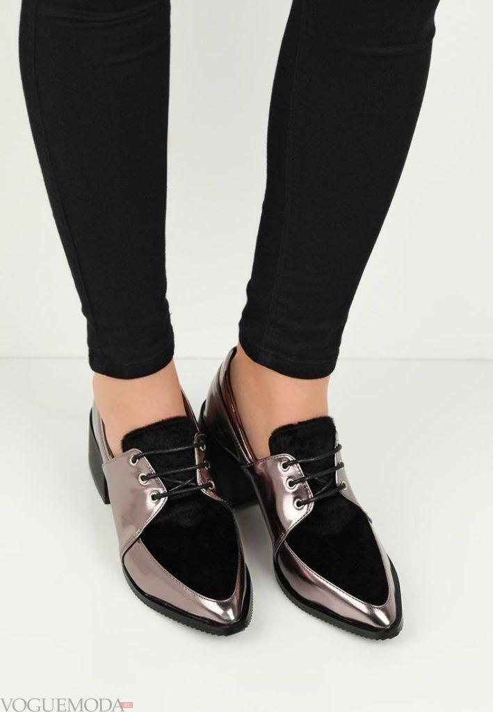 женские комбинированные туфли серебристый металлик