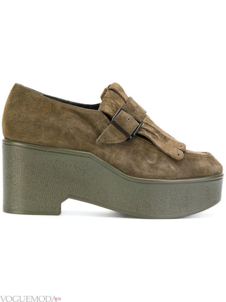 женские зеленые туфли на платформе
