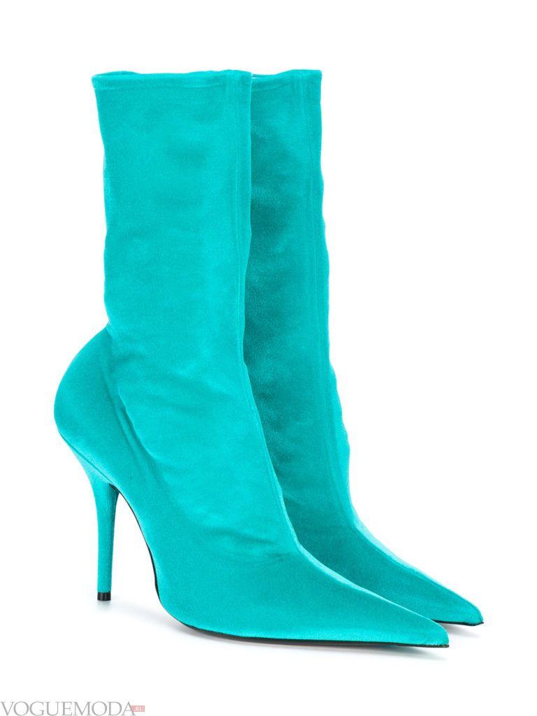 ботинки с острым носком голубые
