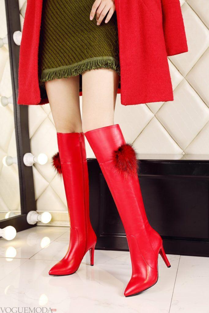 сапоги с острым носком красные