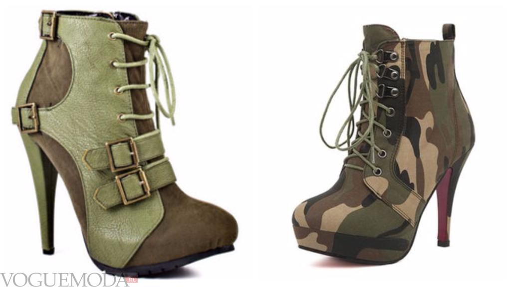 ботинки в стиле «Милитари» зеленые