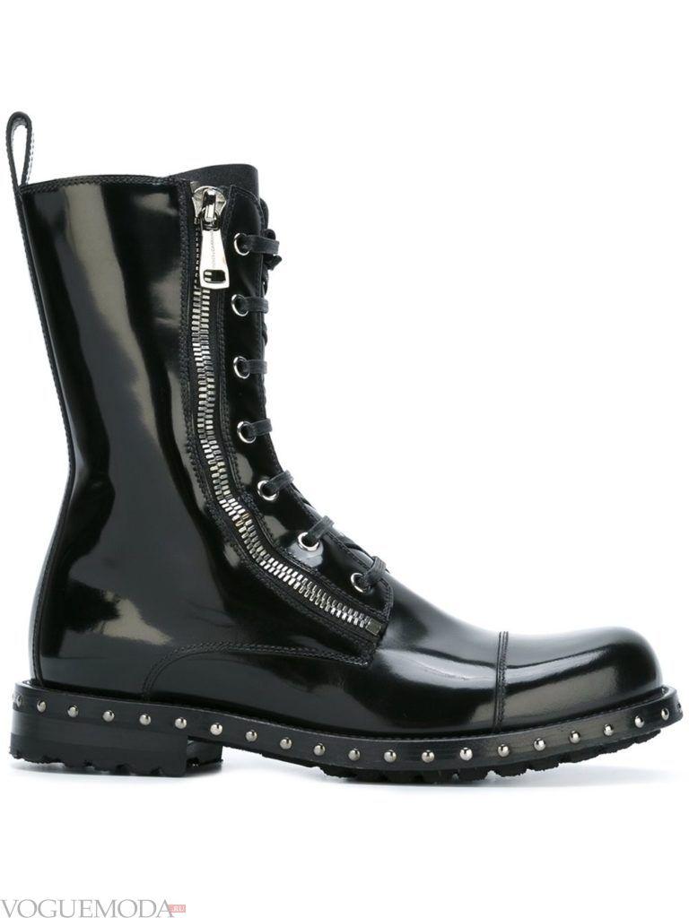 ботинки в стиле «Милитари» лаковые