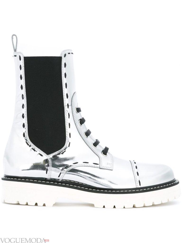 ботинки в стиле «Милитари» серебрянные
