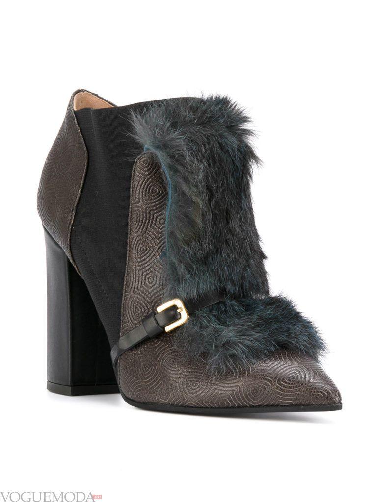 ботинки с меховыми вставками темные