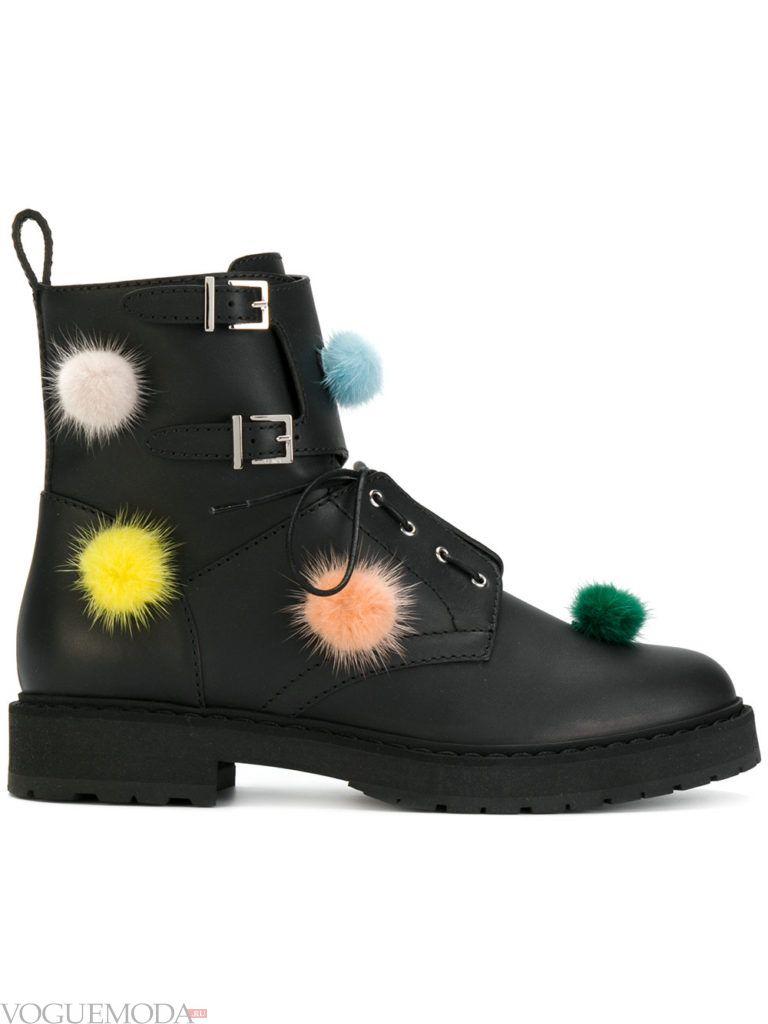 ботинки с меховыми цветными вставками