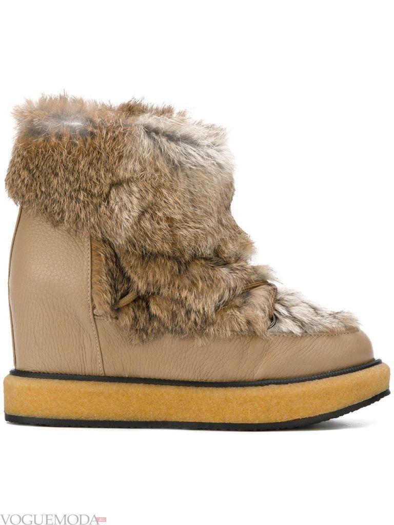ботинки с меховыми вставками бежевые