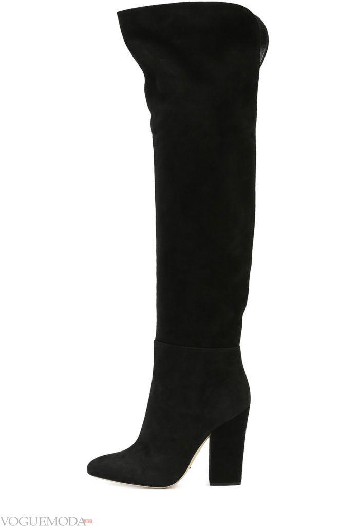 сапоги на массивном каблуке черные