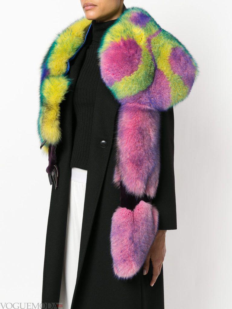 меховой шарф разноцветный