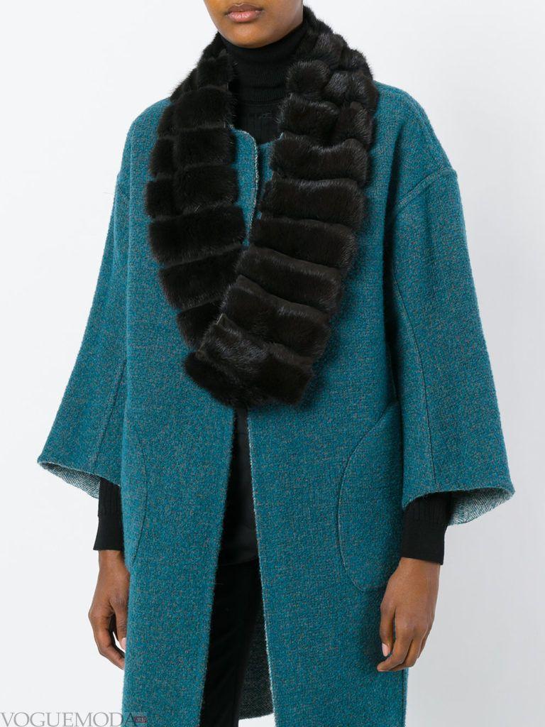 меховой шарф коричневый