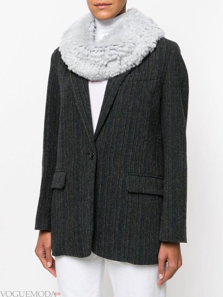 меховой шарф серый