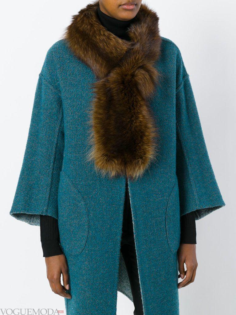 меховой шарф модный