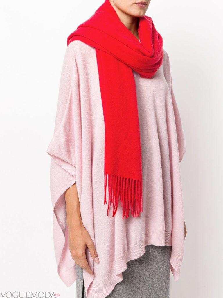 шарф с бахромой красный