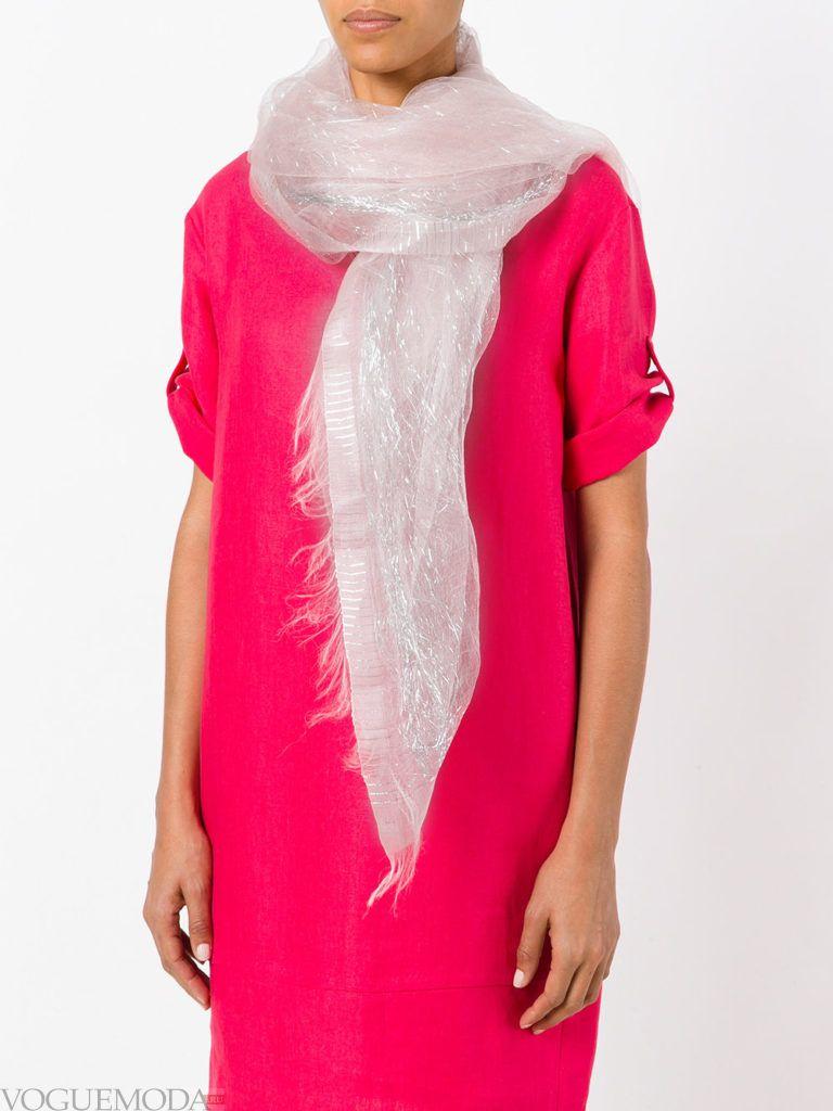 шарф с бахромой белый