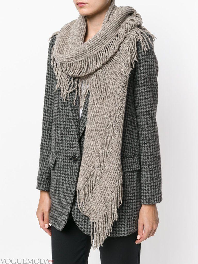 шарф с бахромой серый