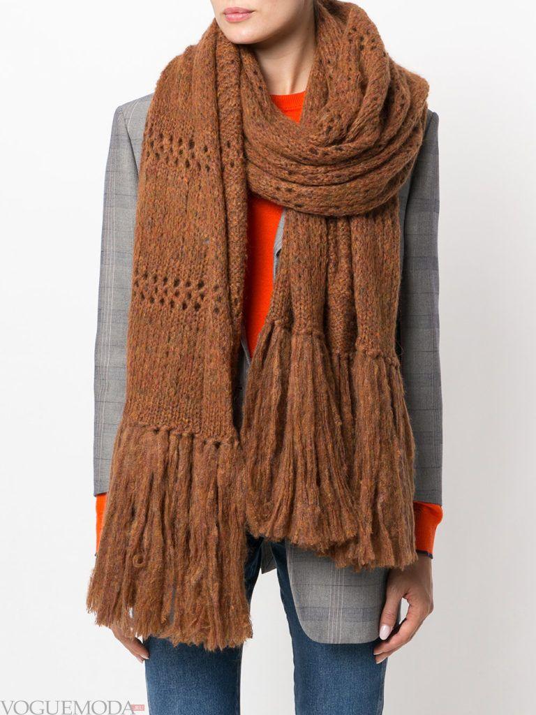 шарф с бахромой коричневый