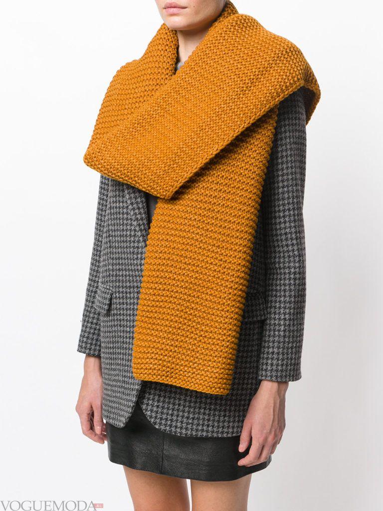 шарф вязаный горчичный