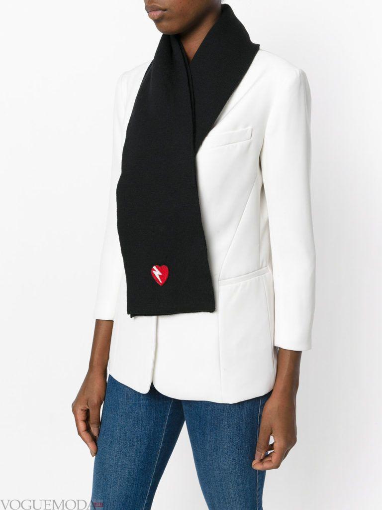 шарф вязаный черный