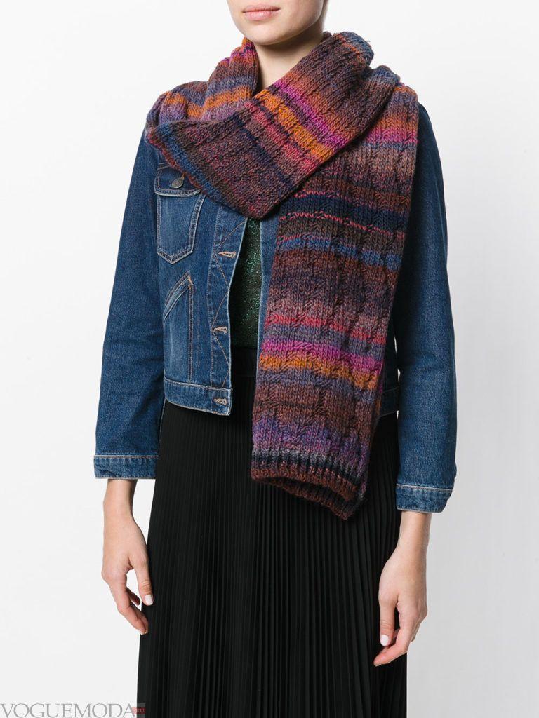 шарф вязаный цветной
