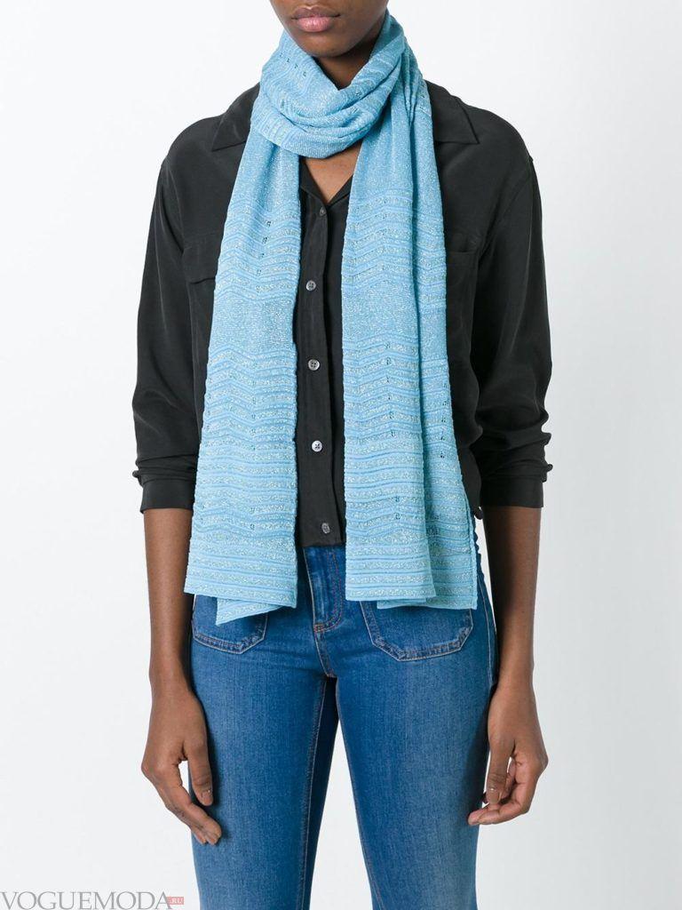шарф вязаный голубой