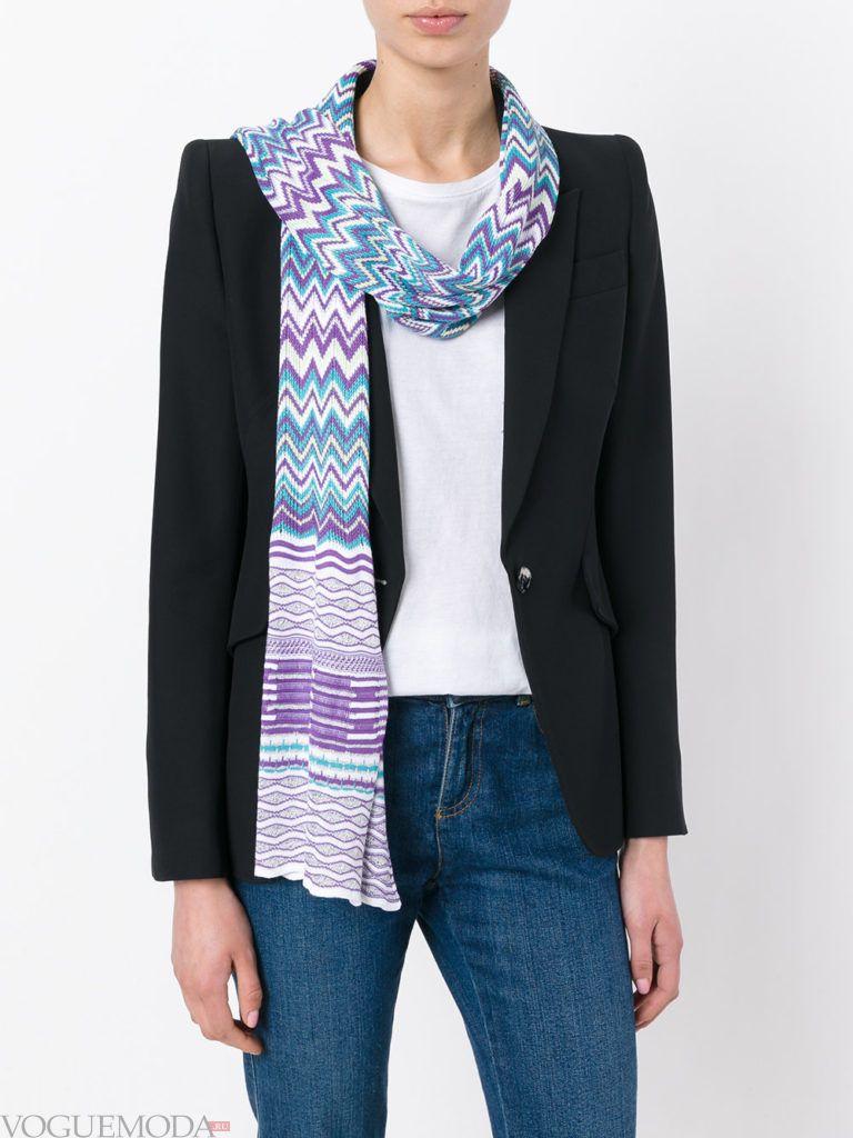 шарф вязаный с принтом