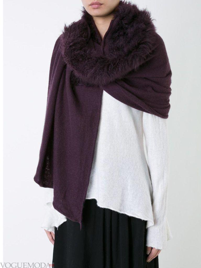 шарф палантин с мехом