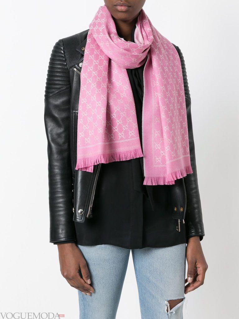 модный шарф розовый