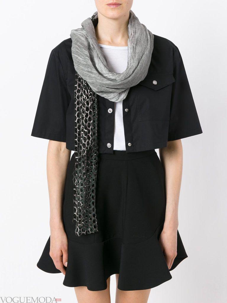модный шарф с прозрачной вставкой