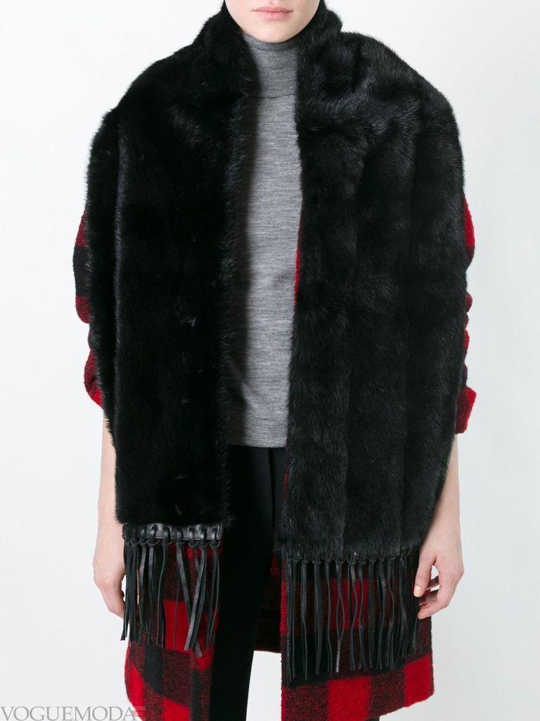 меховой шарф черный