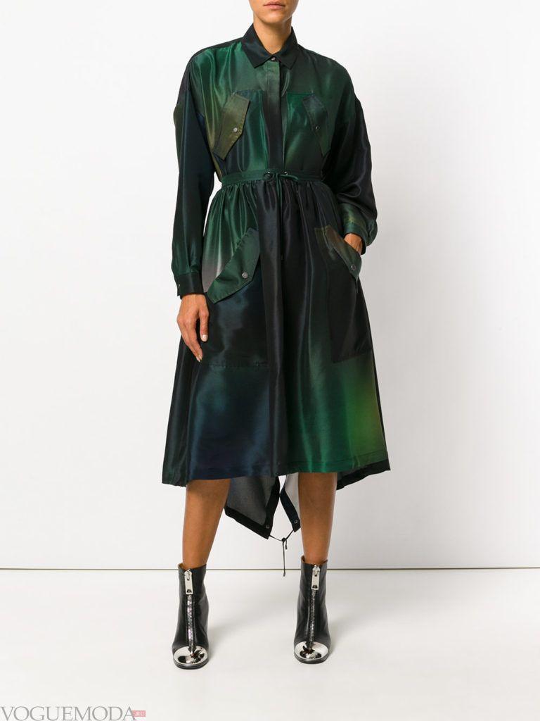 модное платье рубашка зеленого цвета