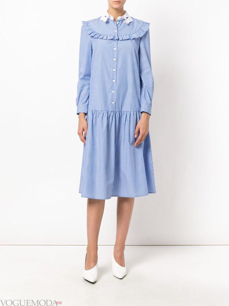 модное платье рубашка голубого цвета
