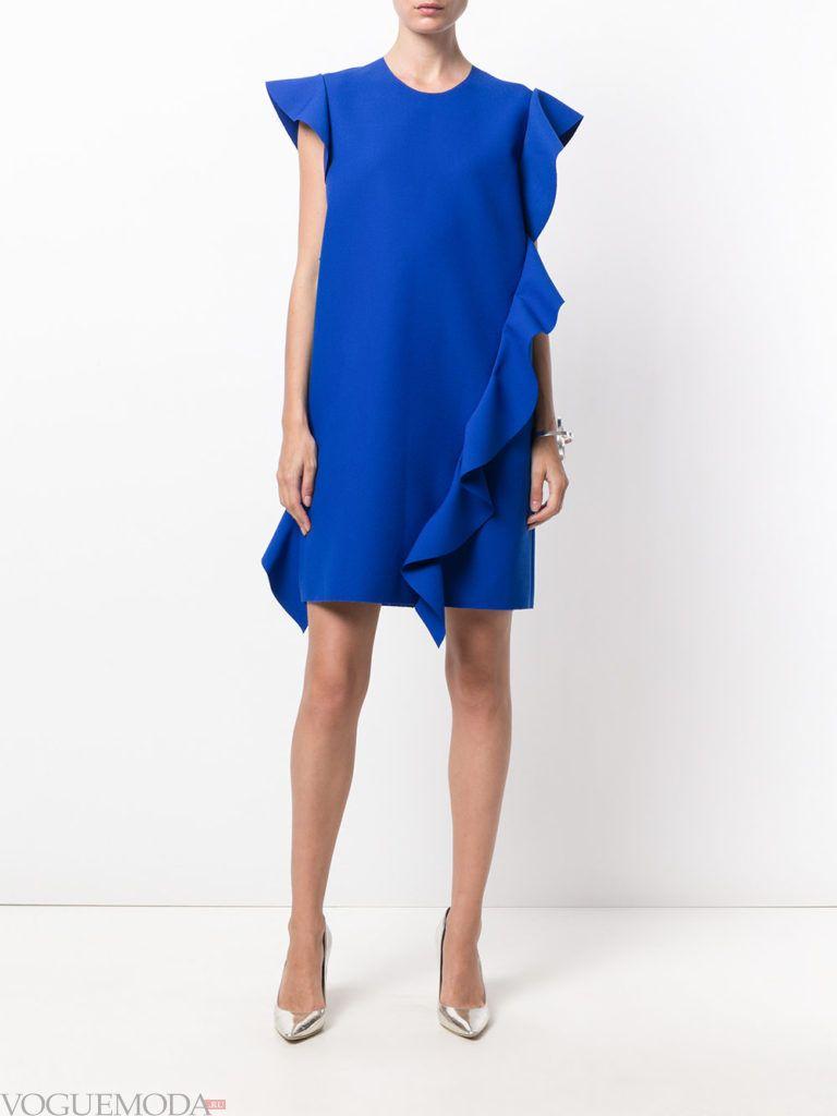 модное платье синего цвета
