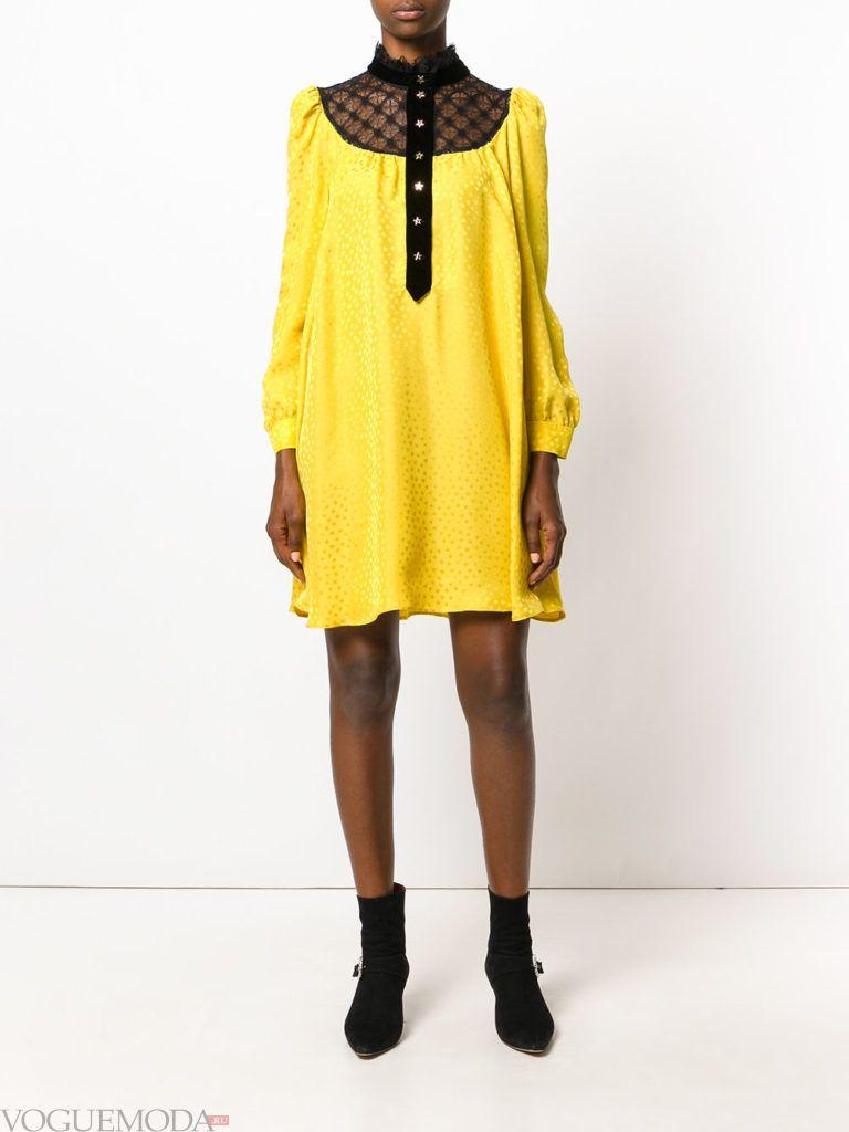 модное платье желтого цвета