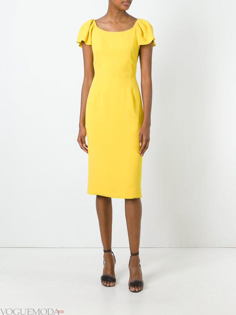 модное платье карандаш желтого цвета
