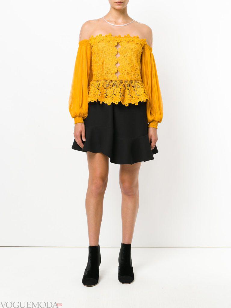 модная блузка желтого цвета