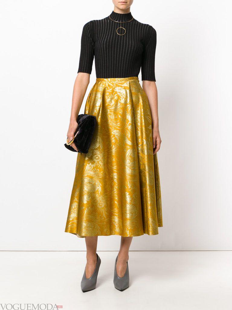 модная юбка желтого цвета