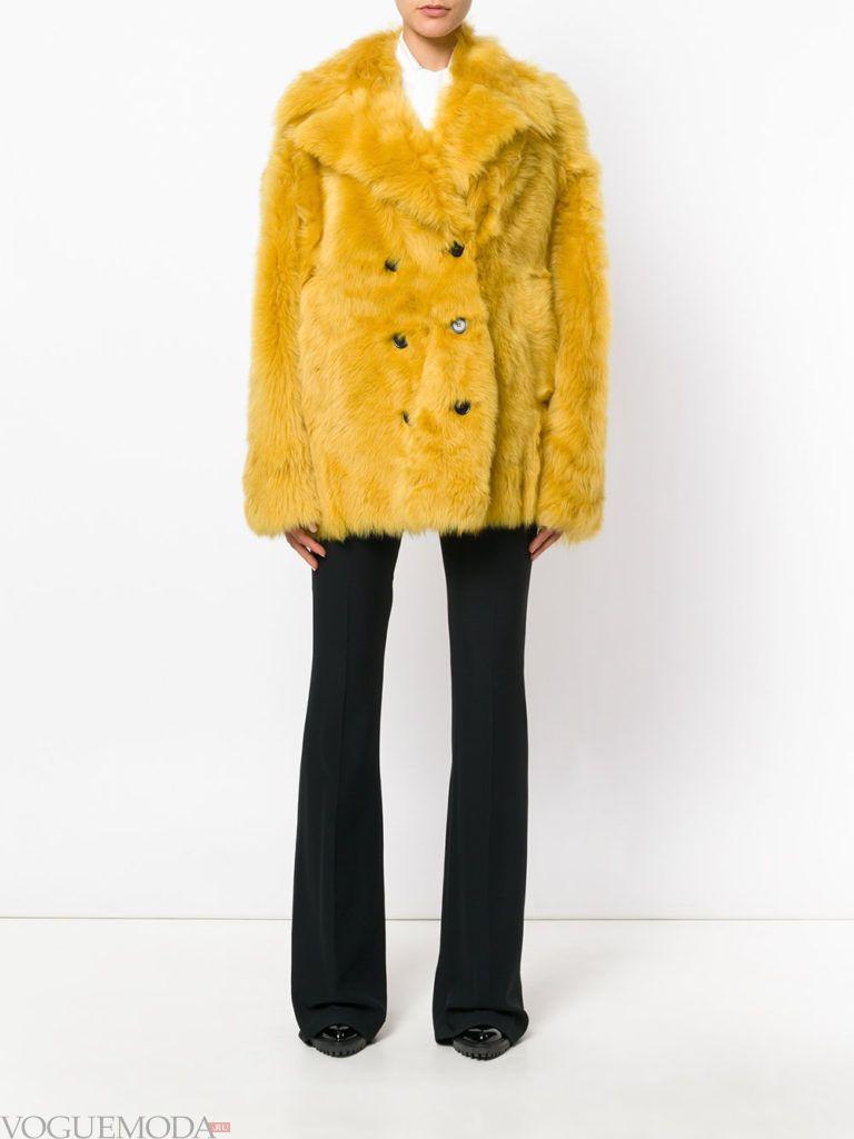 модная шуба желтого цвета
