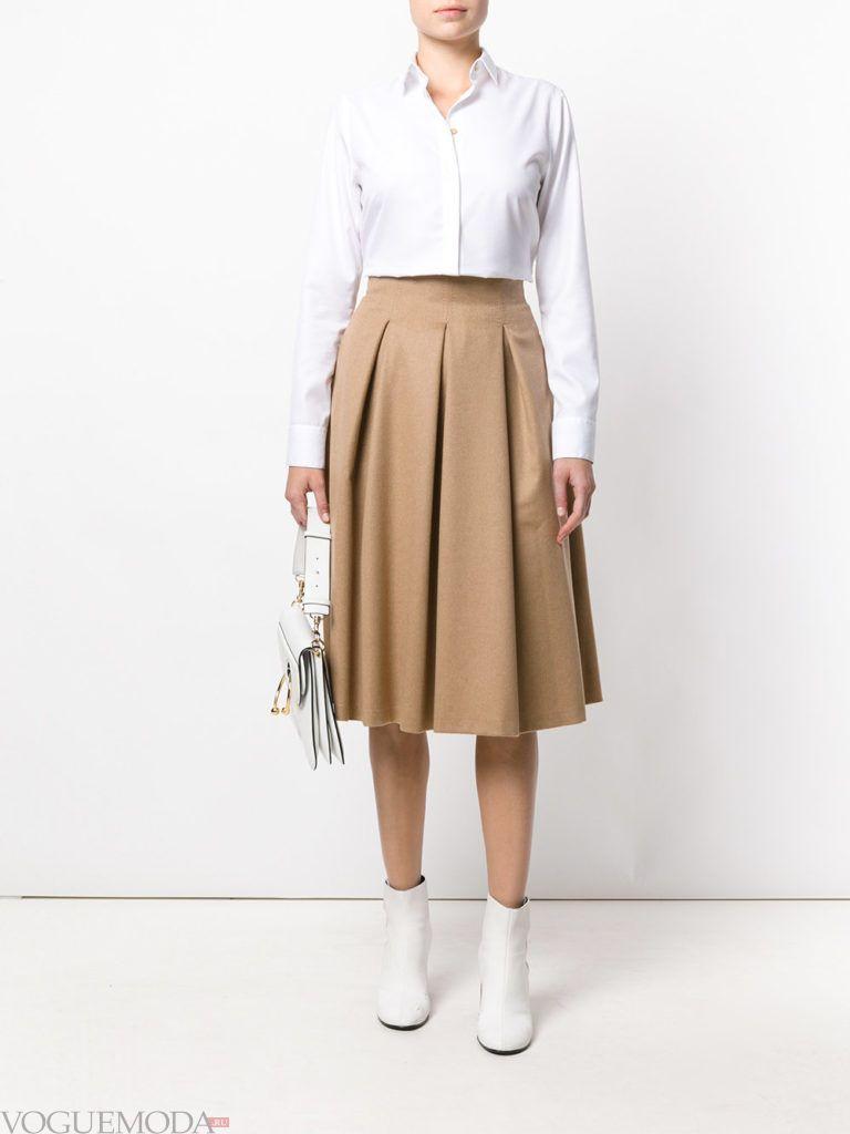 модная юбка клеш цвета кофе со льдом