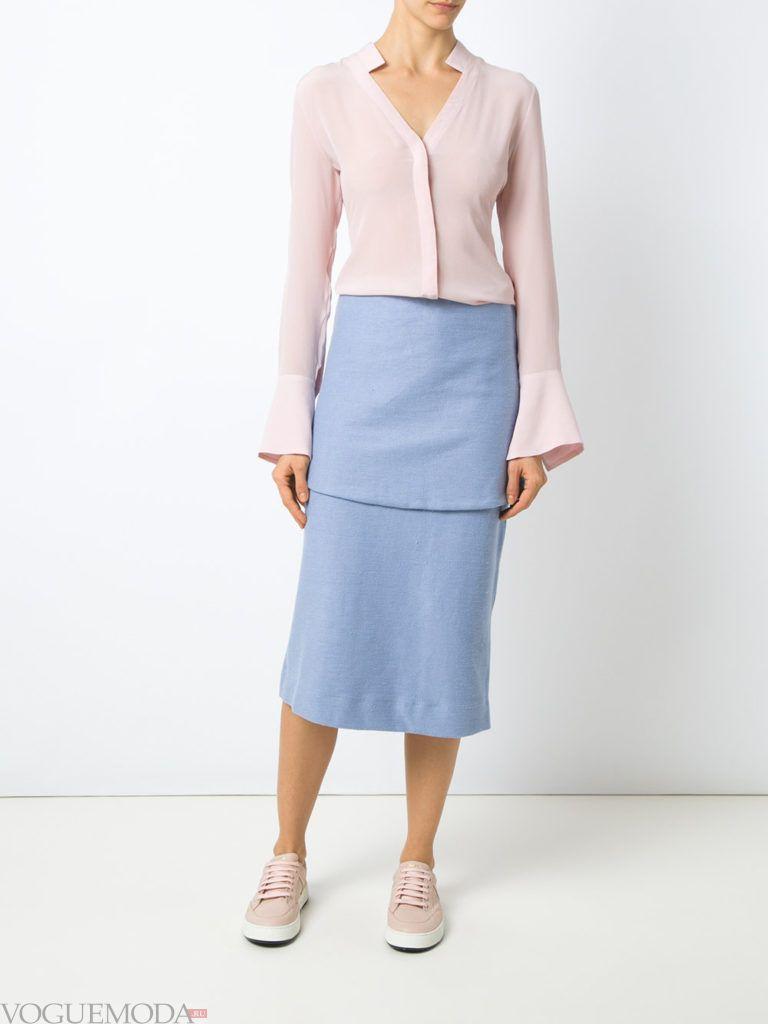 юбка воздушного голубого цвета