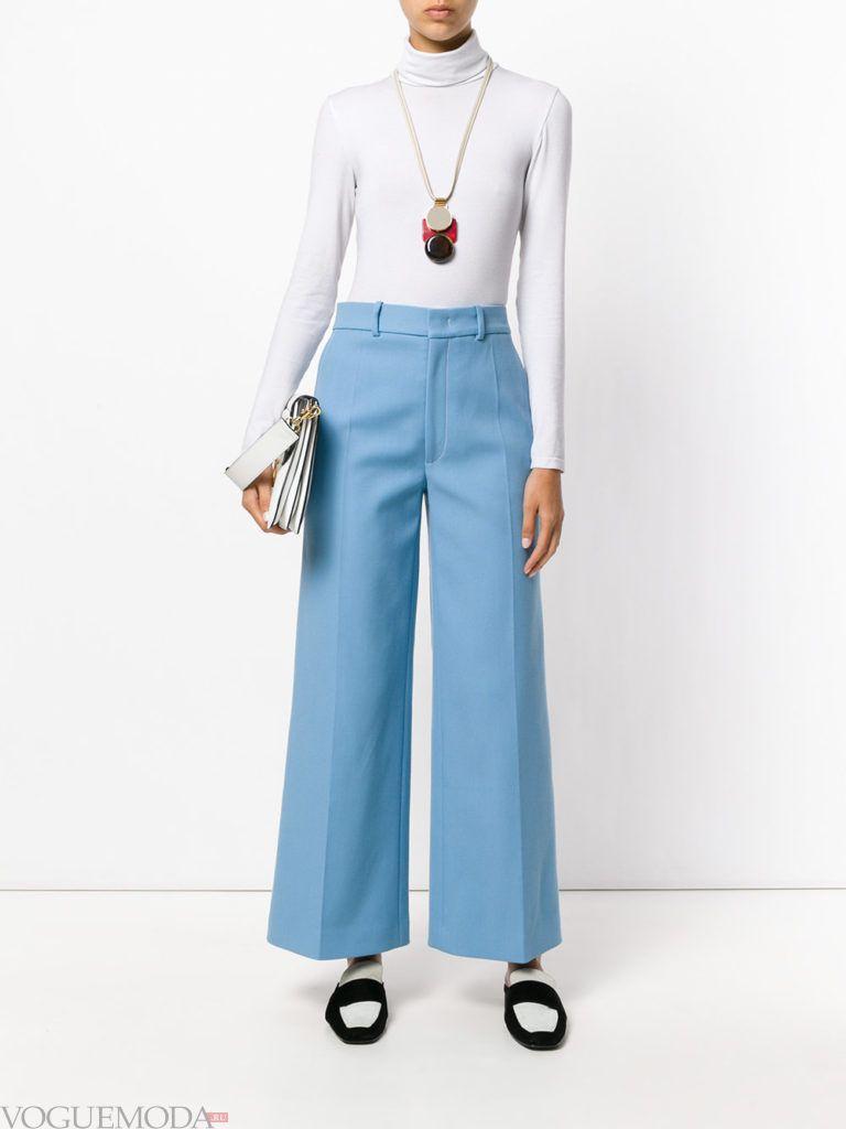 голубые брюки воздушные