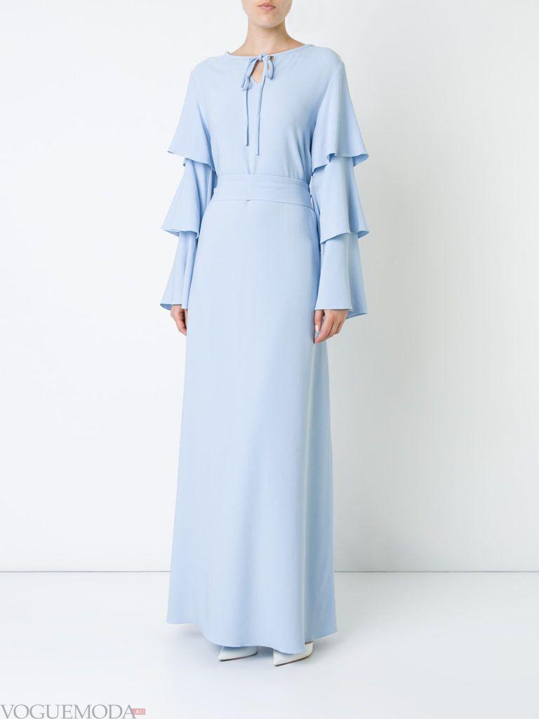голубое платье воздушное