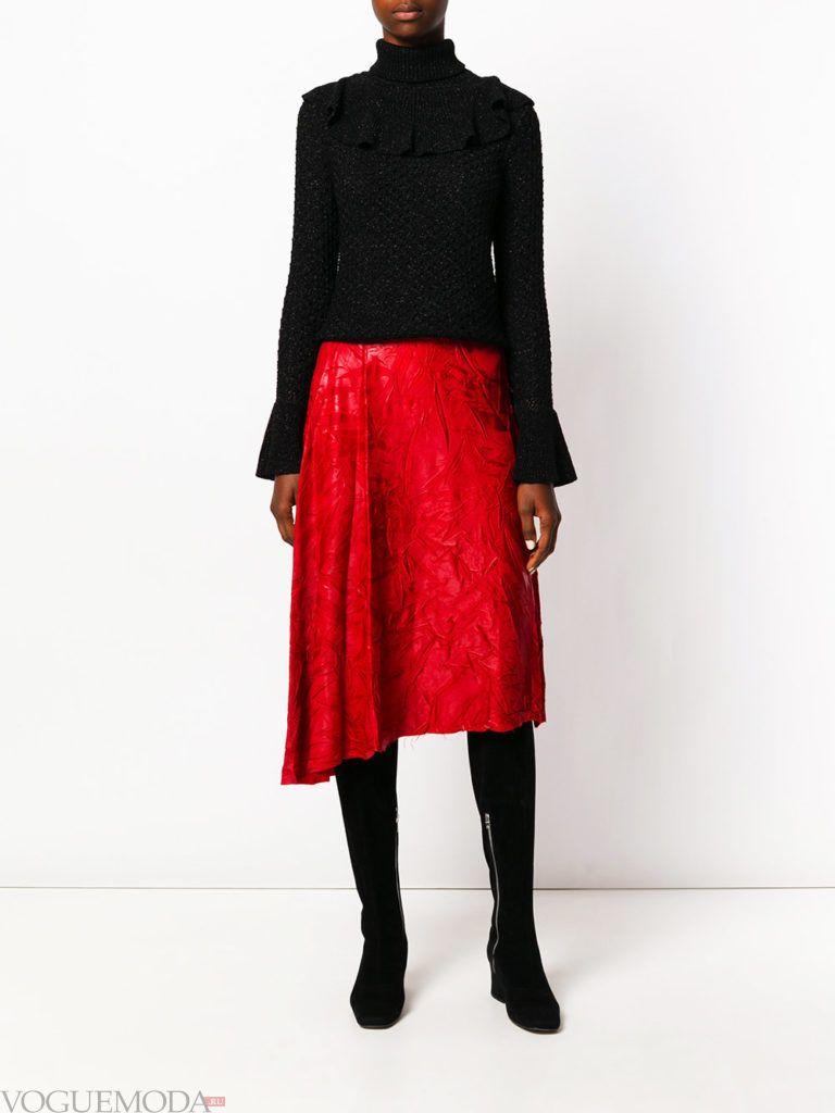 юбка миди насыщенного красного цвета