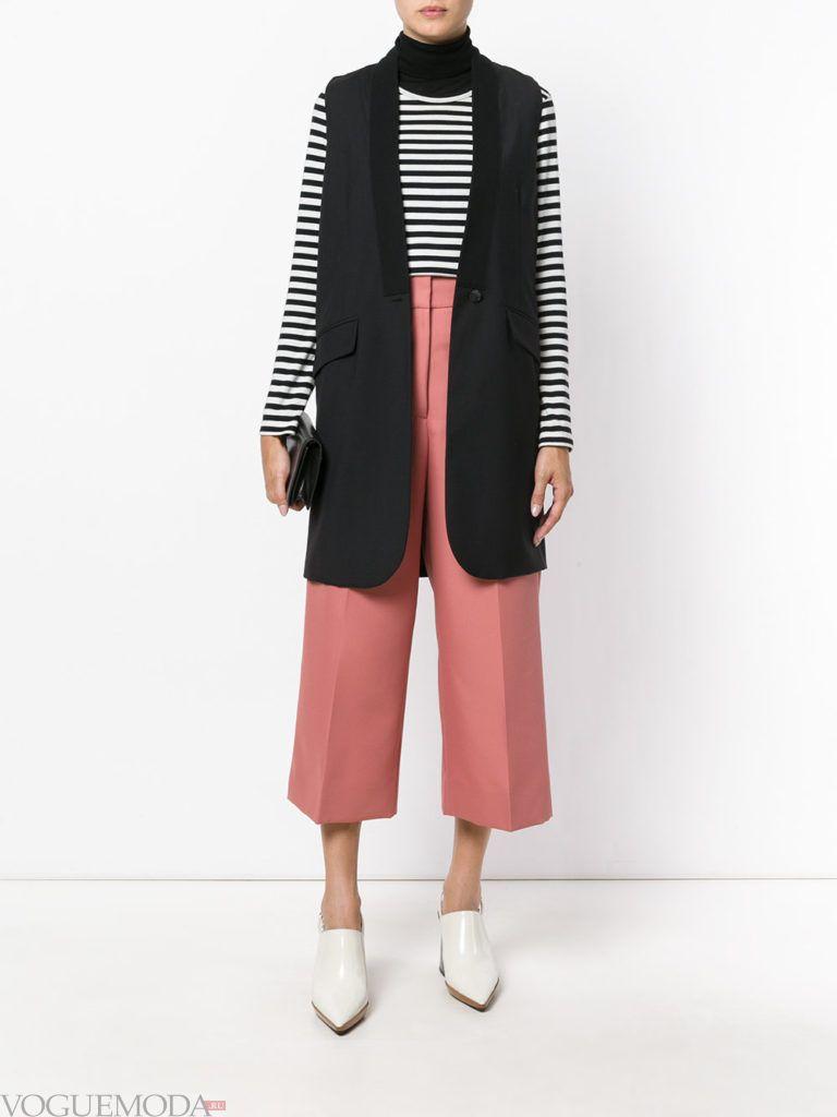брюки плаццо цвета пыльный кедр