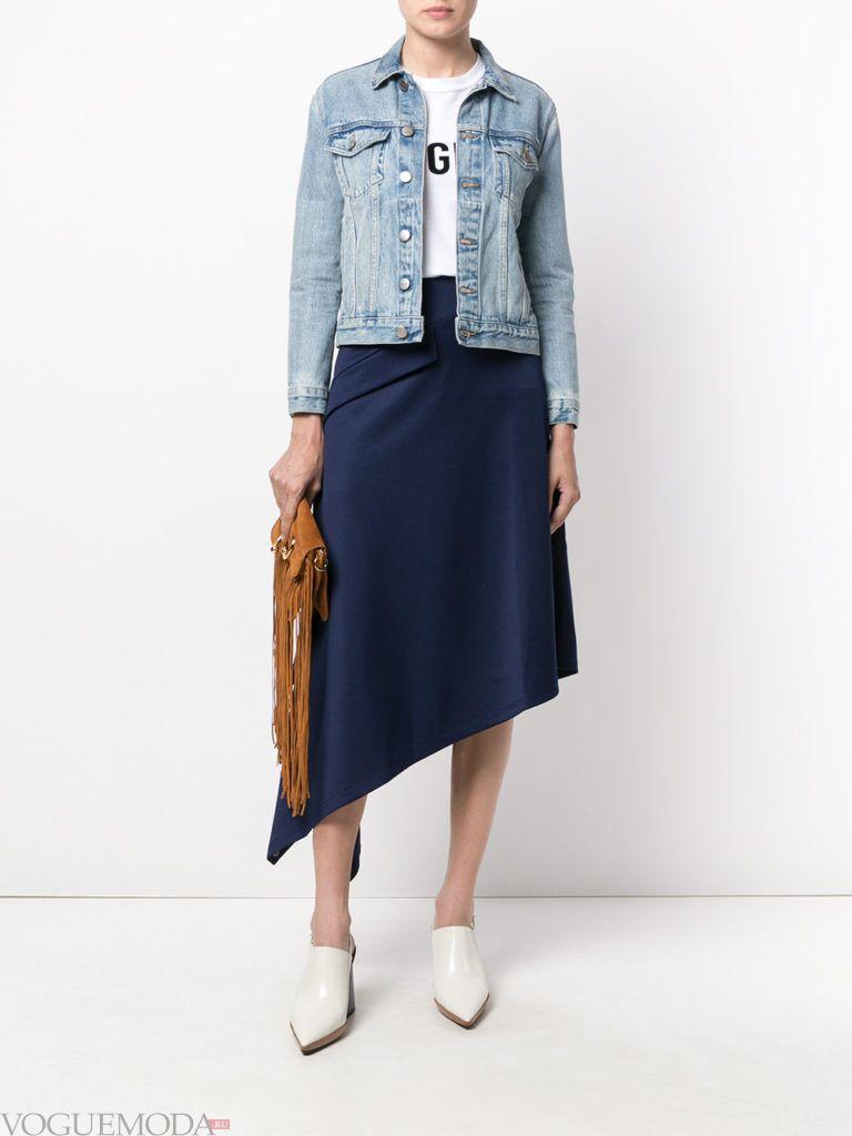 модные цвета в женской одежде осень зима 2020 2021: юбка прохладный синий оттенок