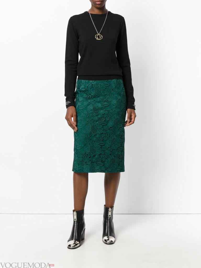 юбка изумрудного цвета